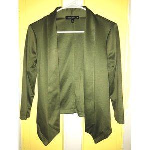 Olive green blazer.